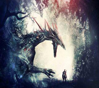 Обои на телефон воин, дракон, dragon
