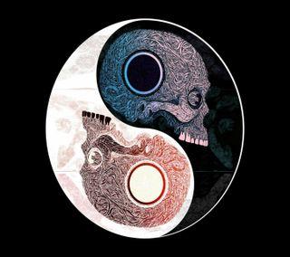 Обои на телефон янь, череп, инь, yin-yang