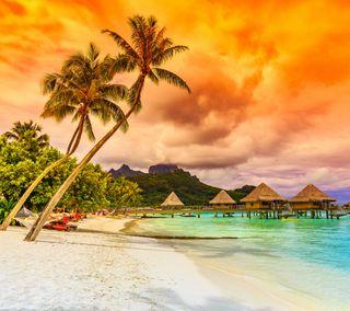 Обои на телефон рай, пляж, океан, облака, море, закат