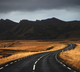 Обои на телефон дорога, горы, iceland