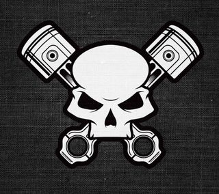 Обои на телефон череп, серые, skull-pistons, piston