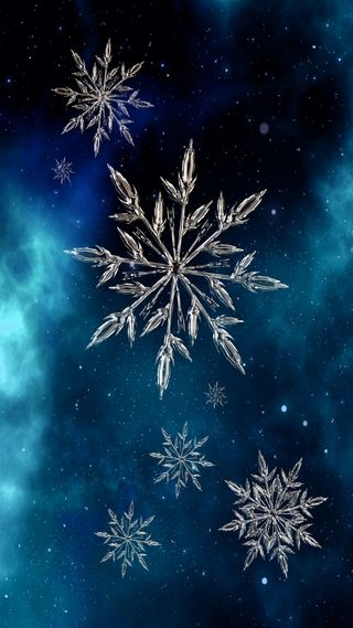 Обои на телефон снежинки, естественные, снег, синие, зима, flakes