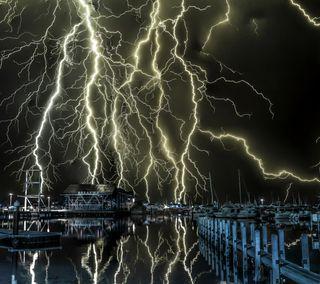 Обои на телефон электрические, пристань, молния, лодки, marina