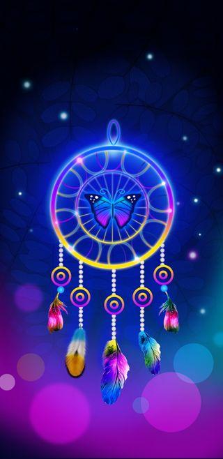 Обои на телефон ловец снов, фиолетовые, синие, симпатичные, светящиеся, сверкающие, прекрасные, неоновые, красочные, девчачие, dreamcatcherglow