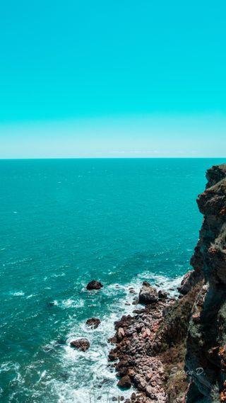 Обои на телефон чистые, релакс, синие, расслабляющие, океан, море, лето, камни, дикие, вода, брызги, idle, bluesea, blueocean