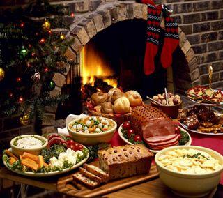 Обои на телефон еда, рождество, огонь, место, дерево, stocking, fire place, feast