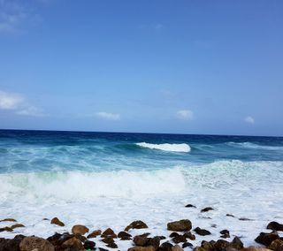 Обои на телефон синие, природа, море, камни, грани, вода, s7 edge