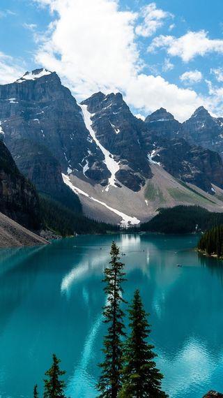 Обои на телефон озеро, пейзаж, деревья, горы, mountain landscape