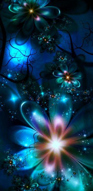 Обои на телефон лотус, цифровое, цветы, фрактал, синие, мечты, мечта, красочные, арт, абстрактные, blue dreams, art