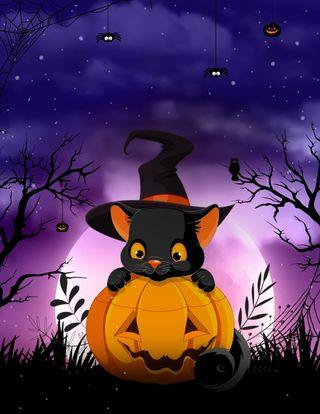 Обои на телефон ужасные, хэллоуин, тыква, праздник, милые, луна, кошки, котята, деревья, ведьма