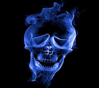Обои на телефон череп, фон, страшные, синие, призрак, дым, абстрактные, ghost