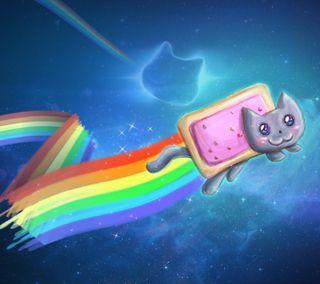 Обои на телефон лук, цветные, смайлики, синие, небо, кошки, забавные, дождь, nyan