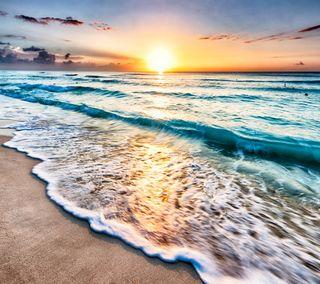 Обои на телефон пляж, песок, море, закат