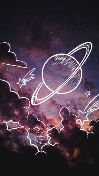 Обои на телефон стрельба, наука, пришелец, планета, облака, небо, звезда, дудлы, галактика, вселенная, the sky is a doodle, shooting star, galaxy