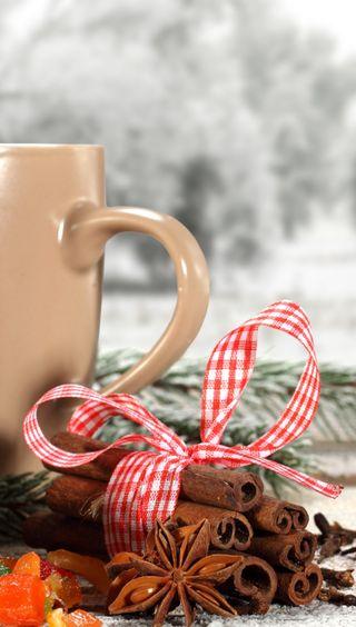Обои на телефон чай, чашка, рождество, cup of tea, cinnamon