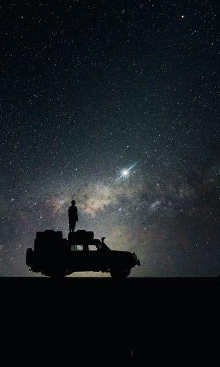 Обои на телефон путь, вселенная, небо, млечный, машины, космос, звезды, галактика, stars sky space car, galaxy
