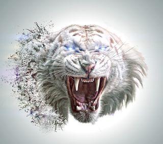 Обои на телефон хищник, тигр, коты, белые, абстрактные, white tiger abstract, felines, carnivor
