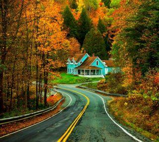 Обои на телефон дом, природа, парк, осень, деревья