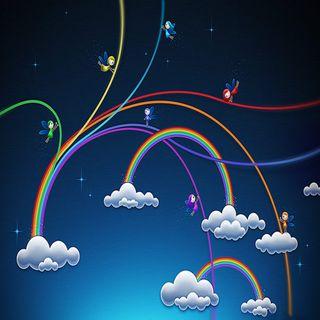 Обои на телефон анимационные, радуга, птицы, природа, прекрасные, облака, небо, абстрактные