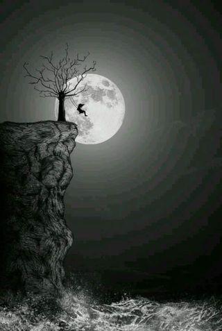 Обои на телефон готические, темные, одиночество, луна, дерево, готы, swing, solemn, gloom