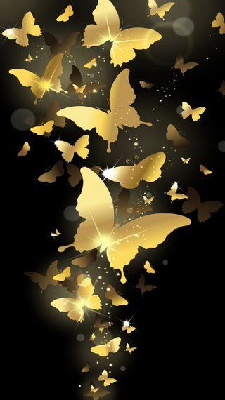 Обои на телефон векторные, золотые, блестящие, бабочки, абстрактные