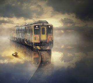 Обои на телефон поезда, путь, облака, небо, небеса, колея, железная дорога, railway to heaven