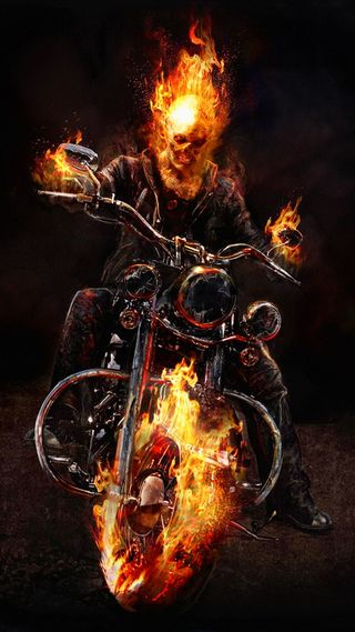 Обои на телефон призрак, огонь, мотоциклы, всадник, johny blaze, hellblazing