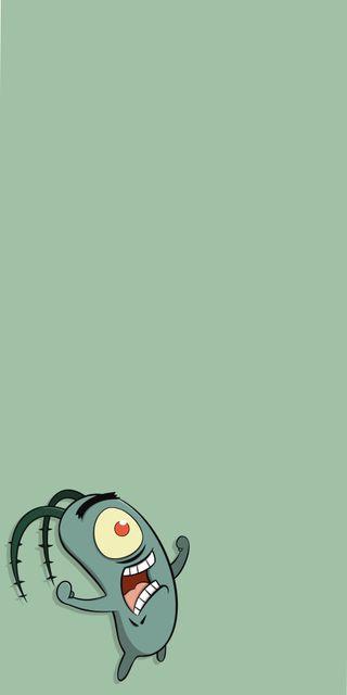 Обои на телефон злые, мультфильмы, зеленые, губка боб, plancton, frustation