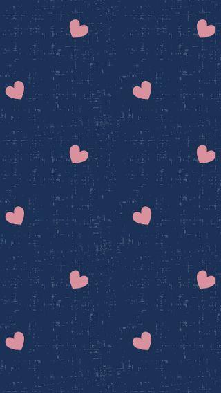 Обои на телефон шаблон, синие, сердце