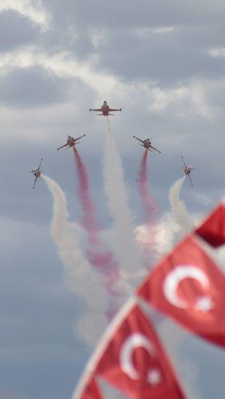 Обои на телефон самолет, турецкие, небо, звезды, turkishflag, turkish stars, soloturk