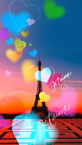 Обои на телефон сердце, башня, je taime