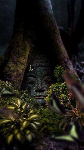 Обои на телефон будда, фантазия, статуя, лицо, листья, дерево