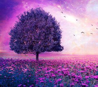 Обои на телефон поле, фиолетовые, природа, пейзаж, haze
