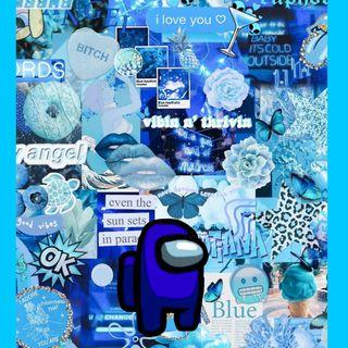 Обои на телефон синие, амонг, among us blue