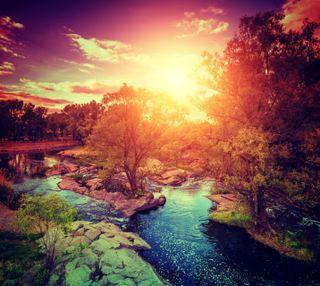Обои на телефон солнечный свет, солнце, река, природа, закат