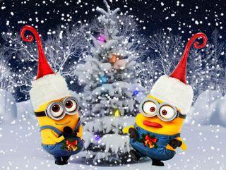 Обои на телефон minions christmas, рождество, зима, снег, счастливое, миньоны