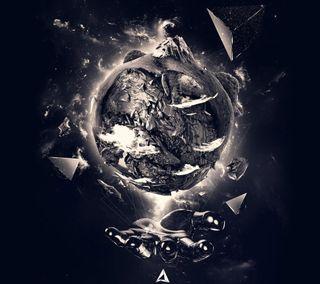 Обои на телефон art, абстрактные, черные, арт, космос, огонь, земля, рука, вулкан