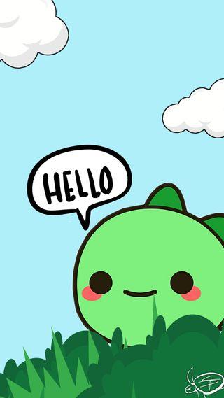 Обои на телефон каваи, привет, милые, динозавр, hello