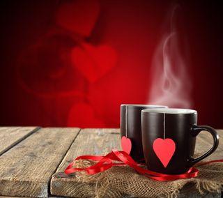 Обои на телефон кофе, сердце, романтика, любовь, валентинка, mugs, love, cups