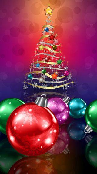 Обои на телефон год, украшение, свет, рождество, праздник, новый, мяч, звезда, дерево