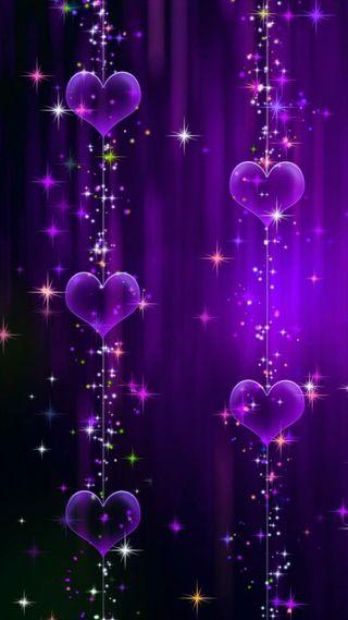 Обои на телефон сияние, фиолетовые, сердце, любовь, блестящие, love, hanging hearts