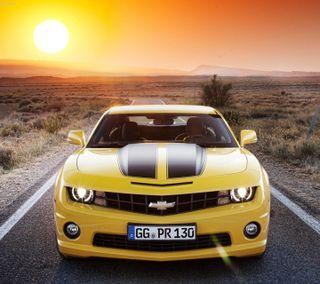 Обои на телефон шевроле, скорость, пустыня, машины, камаро, желтые, гоночные, автомобили, camaro chevrolet