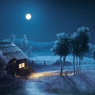 Обои на телефон вечер, ночь, луна