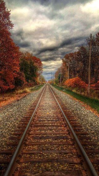 Обои на телефон поезда, природа, колея, камни, железная дорога, деревья, cloudes