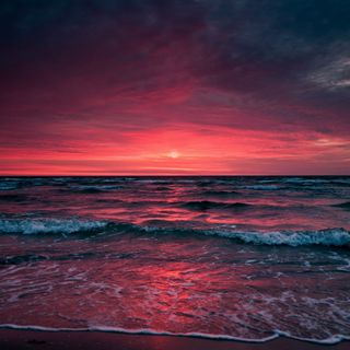 Обои на телефон оранжевые, солнце, розовые, пляж, пейзаж, море, красые, закат