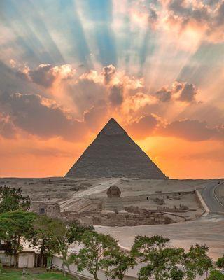 Обои на телефон треугольник, пирамида, закат, египет, piramide, land, hd, egipto