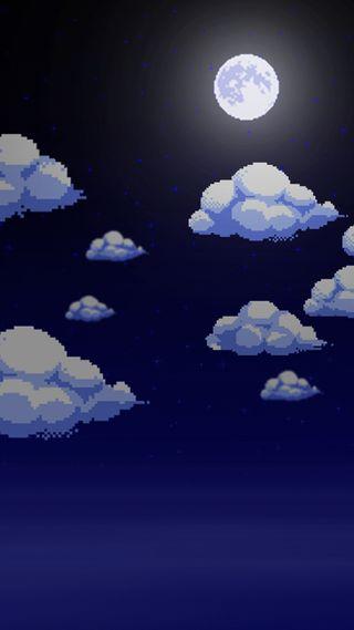 Обои на телефон синие, облака, луна, аркада, pixel, 8бит, 8-bit moonlight