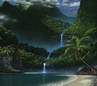 Обои на телефон водопад, остров