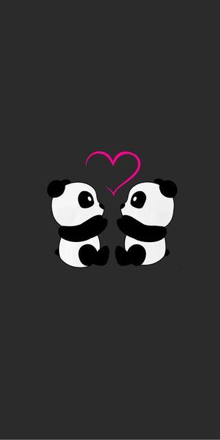 Обои на телефон панда, минимализм, любовь, panda love, minimalista, love