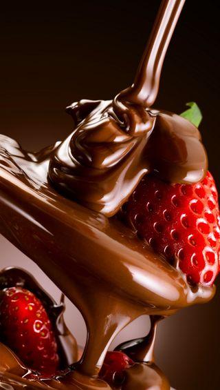 Обои на телефон шоколад, фрукты, клубника, десерт, delicious